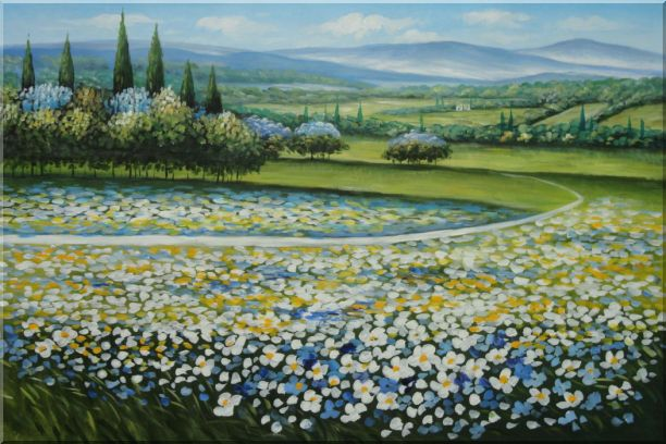 Tuscan White and Yellow Flower  Field  Landscape, Field Naturalism Oil Painting  24 x 36 inches