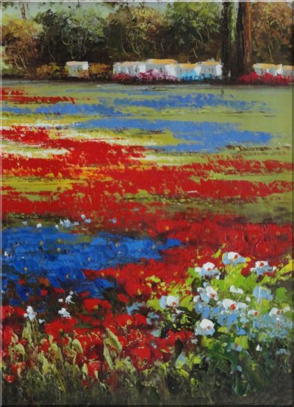 Colorful Flower Field in Front of Village Landscape, Field Naturalism Oil Painting  18 x 13 inches