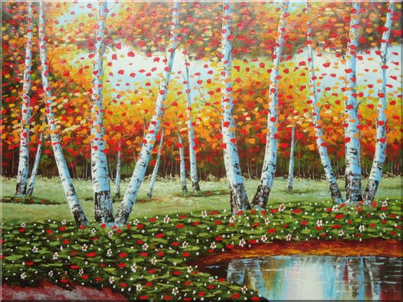 Golden Aspen Trees and Small Pond Landscape,Tree, Autumn Naturalism Oil Painting  36 x 48 inches