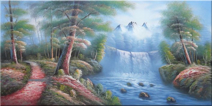 Waterfall, Snow Mountain, Small Path And Forest Landscape,Waterfall Naturalism Oil Painting  24 x 48 inches