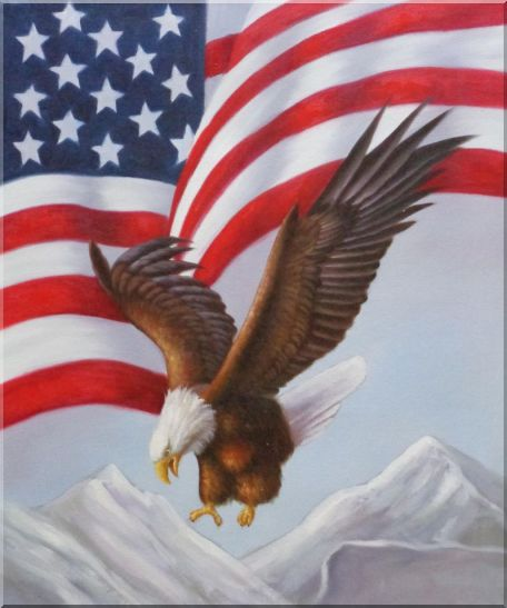 Bald Eagle Flying by American Flag Animal,Patriotic-Painting Naturalism Oil Painting  24 x 20 inches