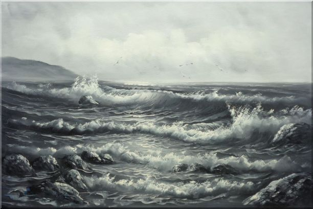 Black White Birds Flying Over Sea Waves Seascape, Black-White Naturalism Oil Painting  24 x 36 inches