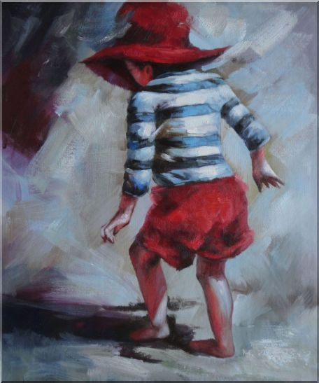 Red Hat Little Child Walking on Beach under Summer Sunshine Portraits,Child Impressionism Oil Painting  24 x 20 inches
