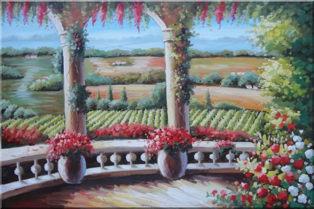 Tuscany Patio Surrounded by Vineyard Winery Landscape, Field Naturalism Oil Painting  24 x 36 inches