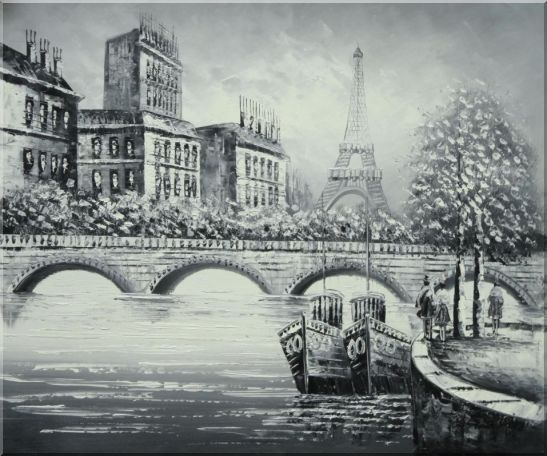 Black White Eiffel Tower, Seine River and Pont Royal Bridge  Black-White,Cityscape Impressionism Oil Painting  20 x 24 inches