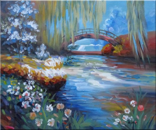 Flowers around River Bridge Landscape,River Impressionism Oil Painting  20 x 24 inches