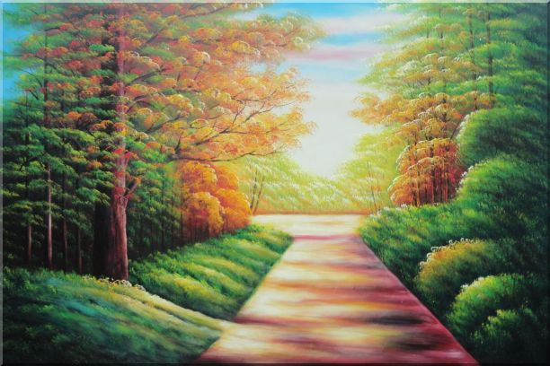 Secret Garden Path Landscape,Tree,Autumn Naturalism Oil Painting  24 x 36 inches