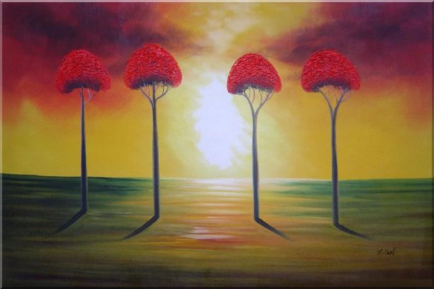 Four Glorious Red Trees at Sunset Landscape,Tree Abstract Oil Painting  24 x 36 inches