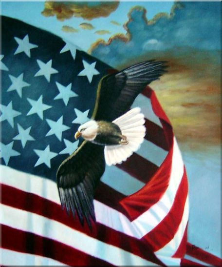 Bald Eagles with American Flags - 2 Canvas Set Animal,Patriotic-Painting,2-Canvas-Set Naturalism  24 x 40 inches