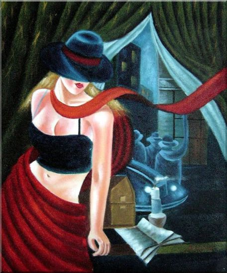 In the Moonlight Pop Art Oil Painting - 2 Canvas Set Portraits,Woman,2-Canvas-Set Contemporary  24 x 40 inches