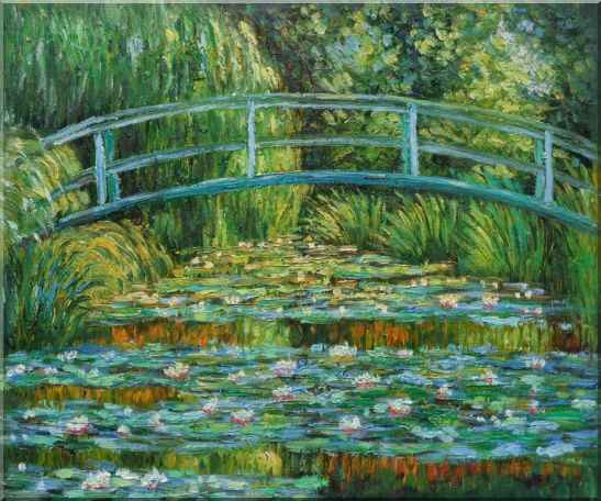 Waterlilies and Japanese Bridge, Monet Landscape,River Impressionism Oil Painting  20 x 24 inches