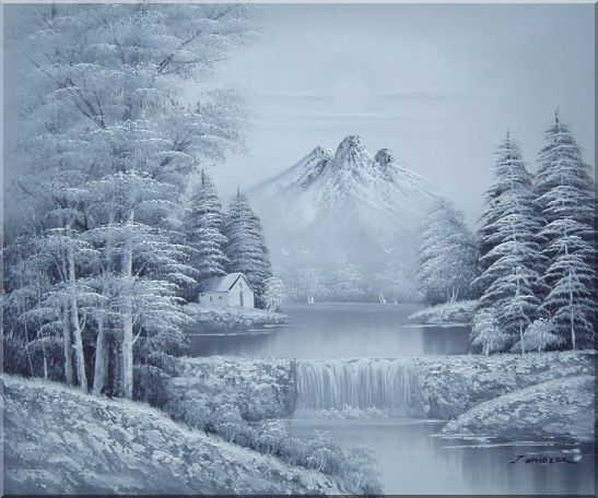Black and White Landscape Oil Painting Landscape,River,BlackWhite Oil