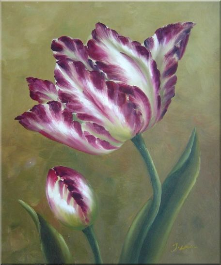 Opening Purple Tulip Floral Oil Painting Flower Contemporary Oil Painting  24 x 20 inches