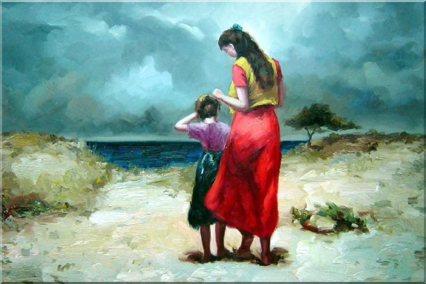 Mother and Daughter Walking on the Beach Portraits,Woman,Child Impressionism Oil Painting  24 x 36 inches