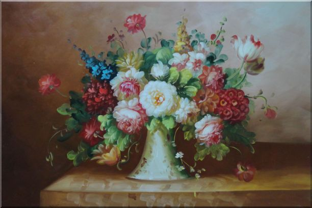 Coloful Flowers on Table StillLife,Flower Classic Oil Painting  24 x 36 inches