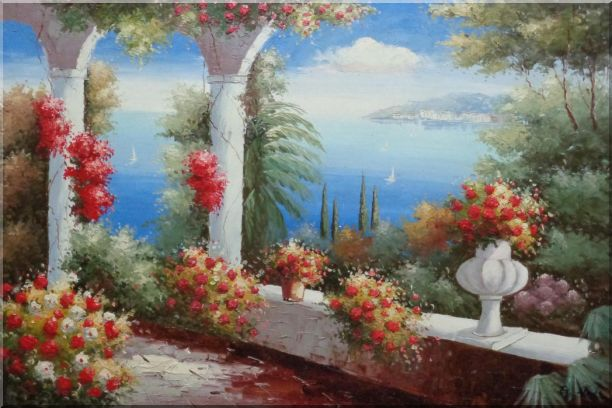 Italy Pavilion with Crawling Flowers Mediterranean Naturalism Oil Painting  24 x 36 inches