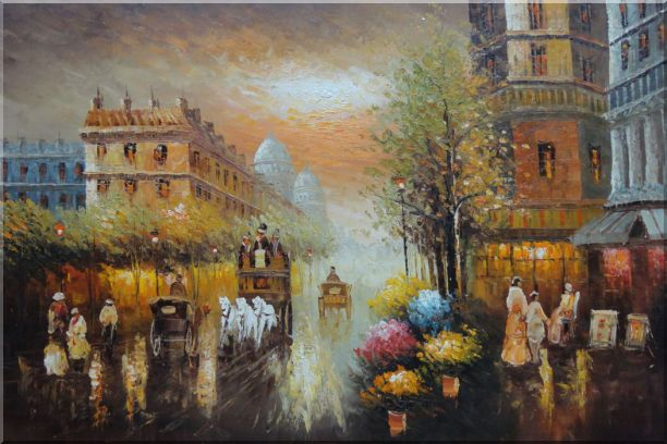 Early Nineteenth Century American Street Scene - 2 Canvas Set Cityscape,2-Canvas-Set Impressionism  24 x 72 inches