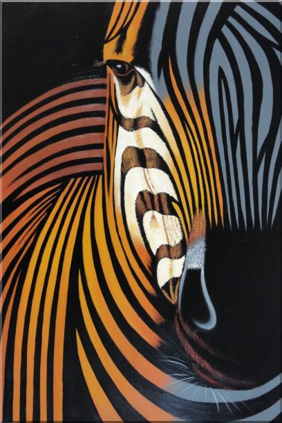 Colorful Modern Zebra I Animal,Zebra Contemporary Oil Painting  36 x 24 inches