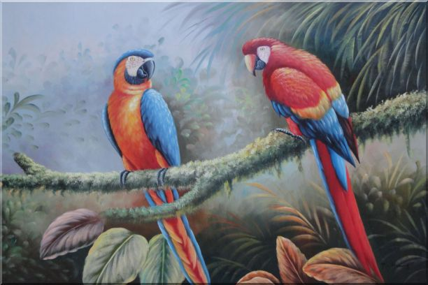 Pair of Blue Red Parrots Perched on Tree Animal, Bird Classic Oil Painting  24 x 36 inches