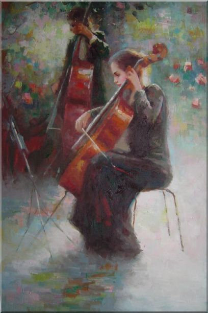 Two Young Girls Playing Cello and String Bass Portraits,Woman, Musician Impressionism Oil Painting  36 x 24 inches