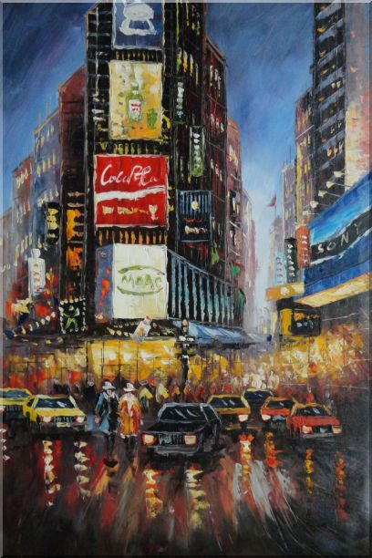 New York Time Square Street Scene Cityscape, America Impressionism Oil Painting  36 x 24 inches