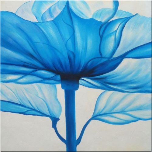 Beautiful Modern Blue Flower Oil Painting - 3 Canvas Set Flower,3-Canvas-Set Contemporary  24 x 48 inches