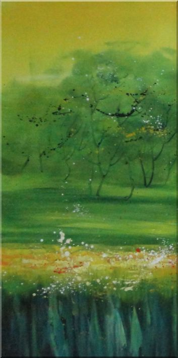 Green Trees, Meadow and Flower Field in Spring - 3 Canvas Set Landscape,Tree,3-Canvas-Set Contemporary  24 x 48 inches