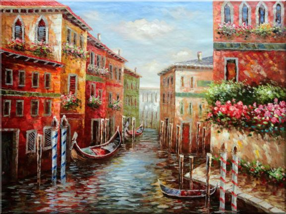 Venice Water Street Scene Canal Naturalism Oil Painting  36 x 48 inches