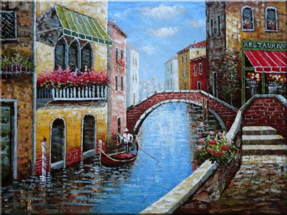 Venice Water Street and Stone Bridge Scene Canal Naturalism Oil Painting  36 x 48 inches