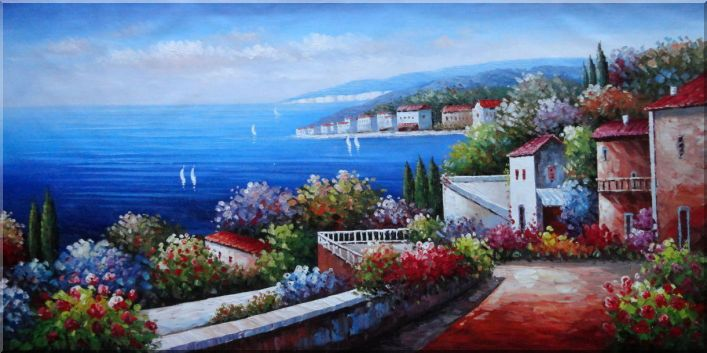 Large Painting of Mediterranean Paradise Mediterranean Naturalism Oil Painting  36 x 72 inches