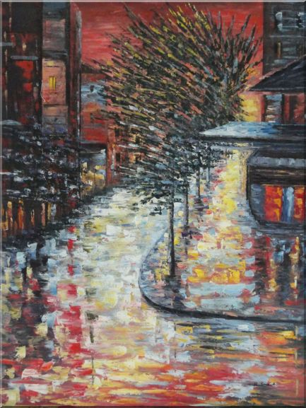Quiet  Modern Urban Street at Bright Night Cityscape Abstract Oil Painting  40 x 30 inches