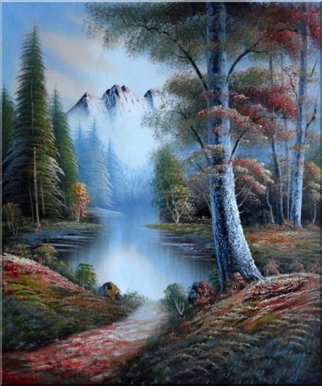 Pond, Trees under Snow Mountain in Autumn and Winter - 2 Canvas Set Landscape,River,2-Canvas-Set Naturalism  24 x 40 inches