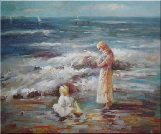 Woman and Children on the Beach  Portraits,Woman,Child Impressionism Oil Painting  20 x 24 inches