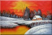 A Snow Coverd Cottage in Winter Forest at Christmas Sunset Oil Painting  24 x 36 inches