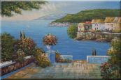 Mediterranean Terrace Oil Painting  24 x 36 inches