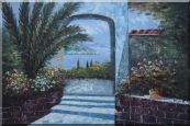 View of of Mediterranean Sea through Arch  Oil Painting  24 x 36 inches