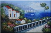 Mediterranean Coastal  Landscape Oil Painting  24 x 36 inches