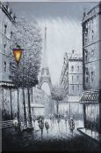 People Walk on Paris Street to Eiffel Tower, Black and White Oil Painting  36 x 24 inches