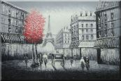 Paris Street to Eiffel Tower Black and White Oil Painting  24 x 36 inches