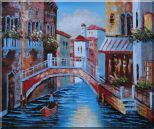 Gondolas in Canal of Venice, Italy Oil Painting  20 x 24 inches