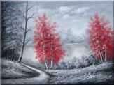 Two Red Leave Trees in Black and White Landscape Oil Painting  36 x 48 inches