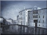Black White Peaceful Venice Street  Oil Painting  36 x 48 inches