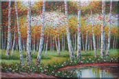 Golden Aspen Trees and Small Pond Oil Painting  24 x 36 inches