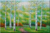 A Quiet Trail in Summer Green Aspen Forest Scenery Oil Painting  24 x 36 inches