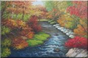 "A Creek Passing Through Beautiful Autumn Forest Oil Painting 24""x36"""