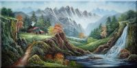 Mountain-side Flowing Waterfall and Cottage Oil Painting  24 x 48 inches