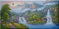 Waterfalls, Mountain, Trees, Trail, Cottage On Sunrise Oil Painting  24 x 48 inches
