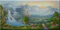 Mountain, Flowing Waterfall and Cottage Oil Painting  24 x 48 inches