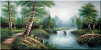 Small Creek, Trail, Forest Scenery Oil Painting  24 x 48 inches