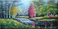 Beautiful Riverside Autumn Forest Scenery Oil Painting  24 x 48 inches